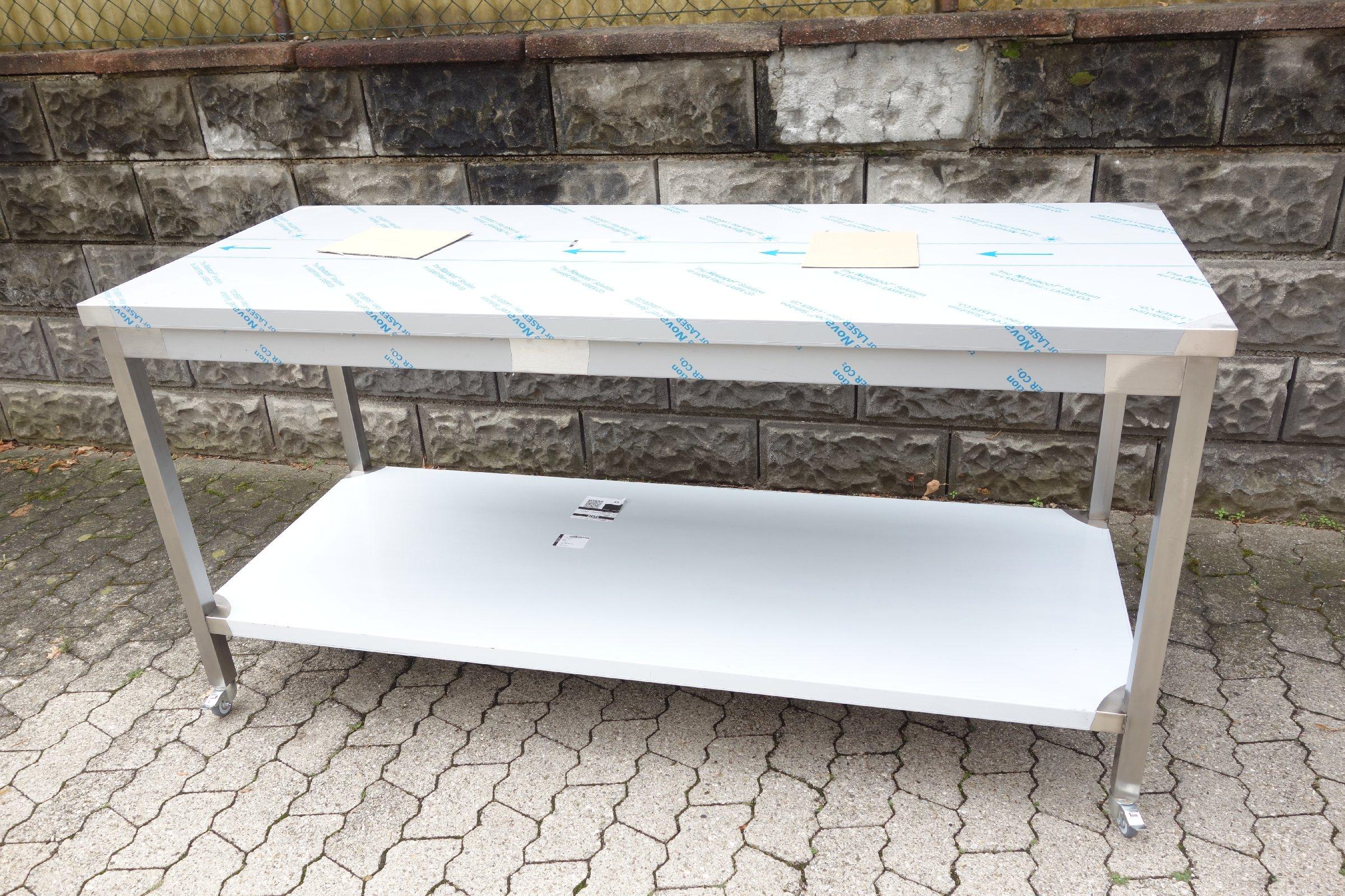 arbeitstisch mit rollen edelstahltisch tisch edelstahl gastro beistelltidch neu ebay. Black Bedroom Furniture Sets. Home Design Ideas